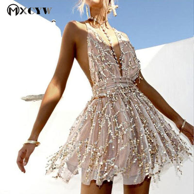 Cotton Dress Female Fashion Sexy Backless Sequins Dresses Sleeveless Deep V-Neck Mini Dresses For Women Women Clothing
