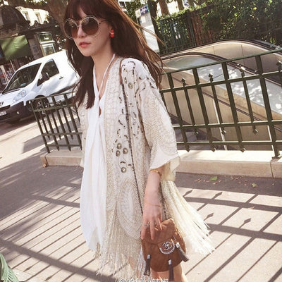 Cream-colored Cardigan chiffon boho Blouses Handmade beaded tassel Embroidery Casual summer blouse Women Brand Clothing blusas