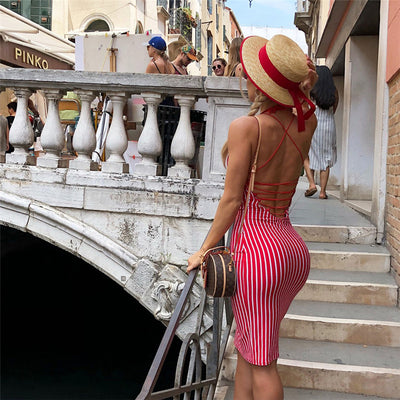 Cryptographic red striped dresses casual backless lace up dresses summer halter bandage bodycon dresses vestido club party