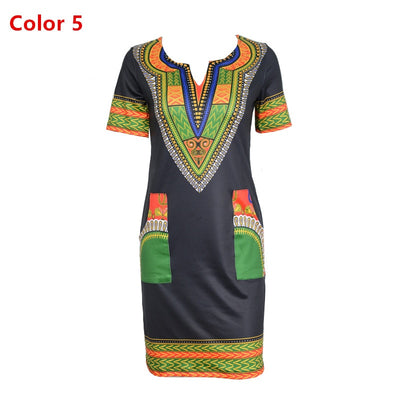 Dashiki dress Summer Sexy African Print Shirt Dresses Femme Vintage Mini hippie Plus Size Boho Women Casual Clothing