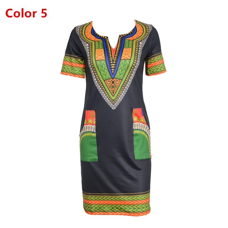 273d2fd39e6 Dashiki dress 2018 Summer Sexy African Print Shirt Dresses Femme Vintage  Mini hippie Plus Size Boho