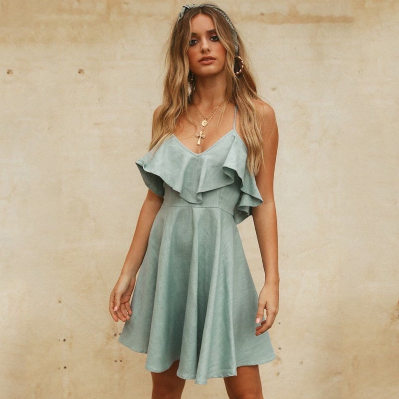 aa620dd0b8 DeRuiLaDy 2018 Women Summer Straps Beach Dress Sexy V Neck Open Back Lace  Up Ruffles Mini