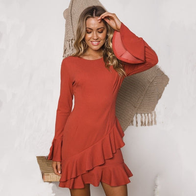 DeRuiLaDy Women Sexy O Neck Ruffles Mini Dress Elegant Flare Long Sleeve Bodycon Dresses Autumn Winter Casual Dress Vestido