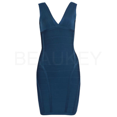 Deep V Neck 2015 Rayon Runway Backless Elastic Knitted Sexy Bodycon Women Bandage Dress Sky Blue