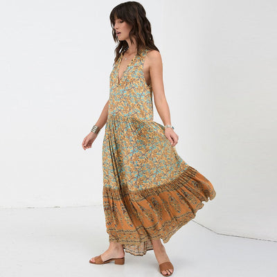 Delirium Smock Print Long Dress Women Summer Autumn Sexy Sleeveless V-Neck Maxi Dress Ladies Gypsy Boho Hippie Beach Dress