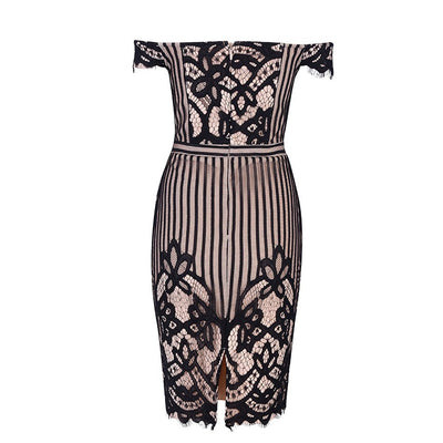DressBird Women Summer Bandage Bodycon Party Dress Sexy Black Lace Off Shoulder Sleeveless Backless Dresses Woman Party Night