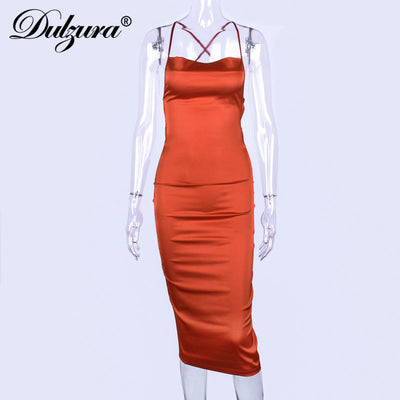 Dulzura summer women long dress satin sleeveless bandage backless elegant party dress vestidos sexy elegant hollow out