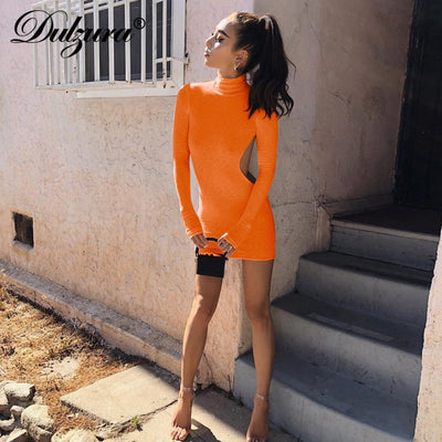 Dulzura sexy backless bodycon mini dress autumn winter clothes women high neck long sleeve party dress