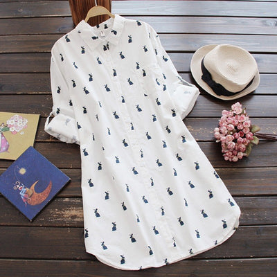 EFINNY Summer Dress Women Full Sleeved Loose Button Shirt Mini Dress Fashion Casual Rabbit Printing Dress Womens Vestido