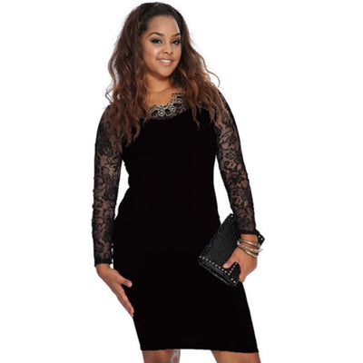Elegant new autumn Women lace patchwork long sleeve Bodycon dress ladies o-neck casual sexy Stretch pencil dress plus size