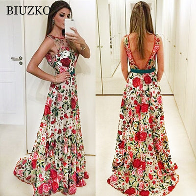 Elegant Backless Embroidery A-Line Summer Dress Flower See Through Sleeveless O Neck Women Dresses Floor-Length Party Vestido