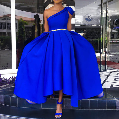 Elegant Blue One Shoulder Floor Length Party Dress Evening Plus Size Sexy Sleeveless Pleated A Line Women Long Maxi Dress