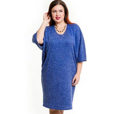 Elegant Casual blue office dress large sizes plus size 6xl 5xl women clothing new winter autumn style o-neck Pockets Dress