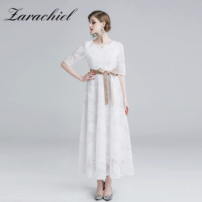 Elegant Evening Party Dresses Women Summer V Neck Half Sleeve Plus Size Slim White Maxi Dress Floral Lace Dress With Belt