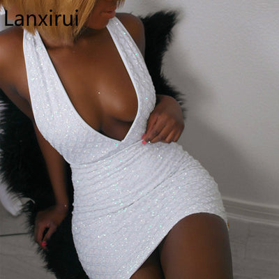 Elegant White Deep V Neck Tight Summer Dress Womens Sexy Backless Diamonds Chained Back Sequins Dress Vestidos