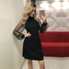 Elegant Women Dress Autumn Applique Contrast Mesh Sleeve Form Fitting Solid Dress Long Sleeve A Line Mini Party Dress