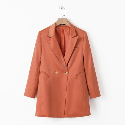 Elegant satin slik blazer women blazer pockets long sleeve office wear coat single button female casual outerwear tops