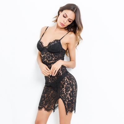 Ellolace Summer Sexy Spaghetti Straps Dresses bodycon Sleeveless Backless Dress Women Sheer Black Lace Floral Vestido Slim Body