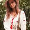Ethnic Embroidery Long Dress Women Elegant White Long Sleeve V neck Dresses Ladies Autumn Boho Hippie Beach Midi Dress