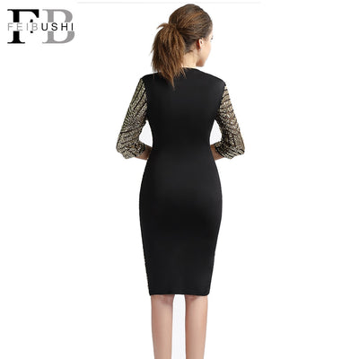 FEIBUSHI Golden Sequin Dresses Bodycon Women Geometric Lace Dresses Big Size Backless Sequin Dress Half Sleeve Slim Club Dress