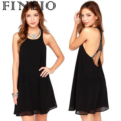 FINEJO Round Ladies Backless Dress Women Gauze Loose Neck Sexy Patchwork Stylish