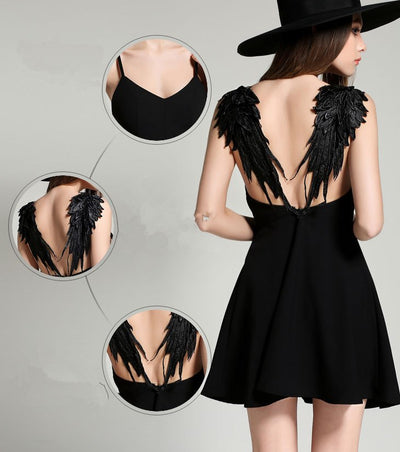 FUNMARS.T Summer Black White Lace Angel Wings Dress Casual Slim Sexy Backless Dresses Women Spaghetti Strap Vestidos