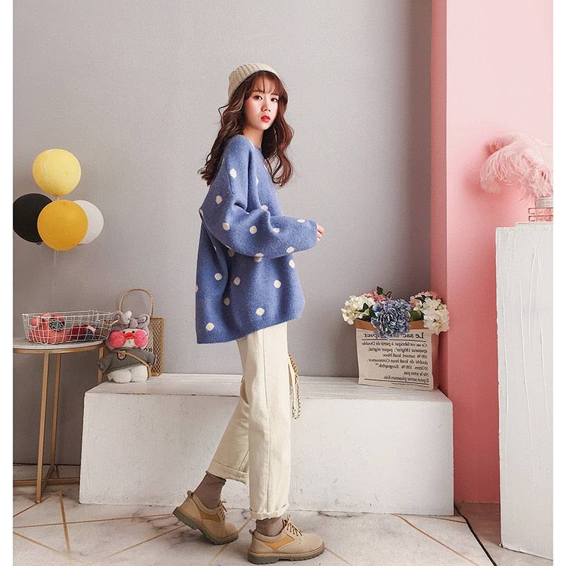 65dc76002d479 Fall Winter Women Vintage Loose Wool Dot Sweater Tops Knitted Shirt Ladies  Oversize Long Sleeve Short