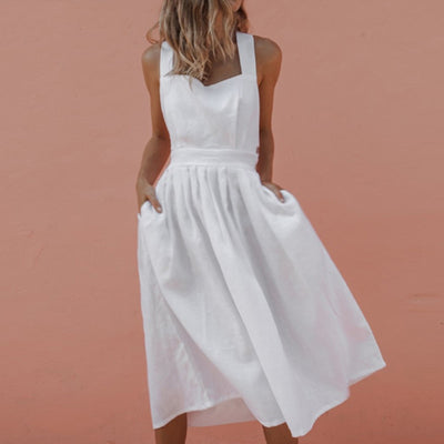 Fanbety Sexy Backless Criss Cross Midi Dress Women Summer Sleeveless Bow Dress Sundress Casual Beach Pleated Pocket Boho Dress