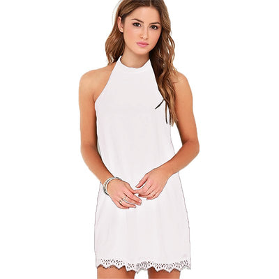 Fantaist Women Summer Elegant Cocktail Party Night Club Sleeveless Halter Neck Little Black Casual Loose Mini Lace Shift Dress