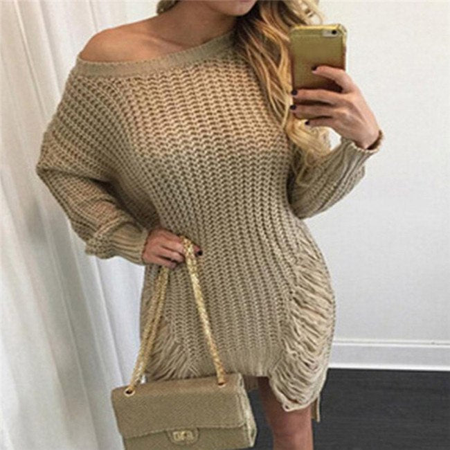 8a1c2483c7740 Faroonee Women Ripped Out Holes Sweater and Pullover Irregular Oversized  Lady Tricot Knitwear Sexy Sweater Dress