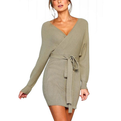 Fashion Autumn Winter Backless Sweater Dress Women Sexy V-neck knitted Warm Bodycon Slim Belted Dresses Vestido X2