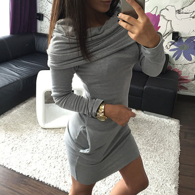 Fashion Autumn Winter Women Sexy Dress With Hat Solid Color Long Sleeve Pocket Keep Warm Ladies Girl Casual Dresses FS99