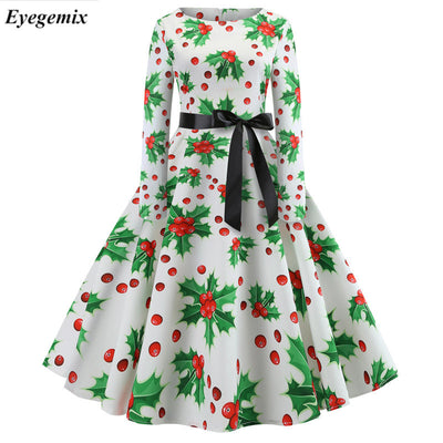 Fashion Big Size Winter Vestido Elk Christmas Stocking Print Women Retro Christmas Dress Santa Claus Print Retro Party Dresses