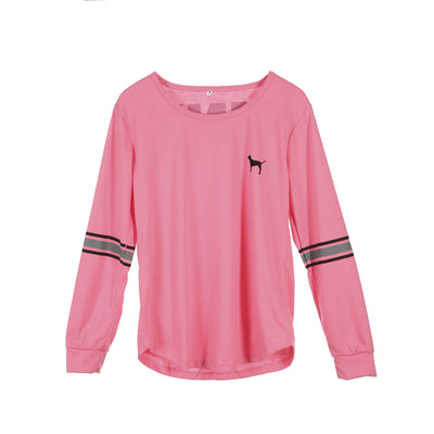 Fashion Brand New Women T-Shirts Casual Print Pink Letter Tops TShirt Loose Fashion Cotton Tee Long Sleeve Clothes Women