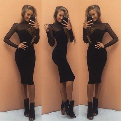 Fashion Casual Sexy Women Ladies Dresses Black Bodycon Mesh Cocktail Party Long Sleeve Dress Spring Clothes Black