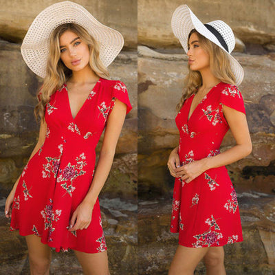 Fashion Casual Women Ladies Dresses Summer Sleeveless Floral Evening Party Beach Short Mini Sun Dress Red White