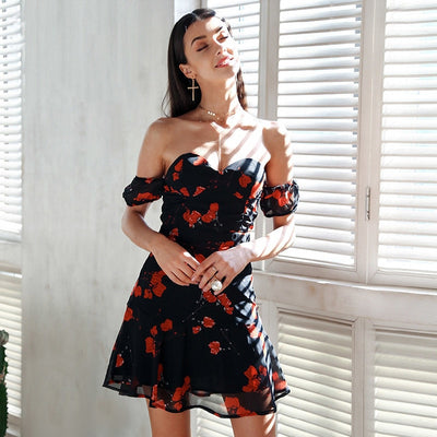 Fashion Chiffon Mesh Women Slash neck Off Shoulder Women Summer Dress Sexy Floral Print Backless Wrapped Chest Empire Dress