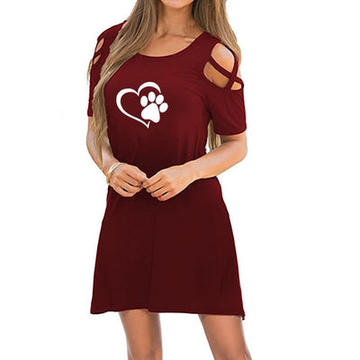 Fashion Heart Dog Paw Print Round Neck Short Sleeve Women Summer Casual Dress