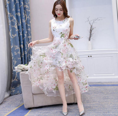 Fashion High Low Dresses sleeveless Elegant Slim Front short back long Three-tier Vest Dress White Chirstmas Women Tulle Dress