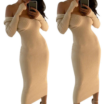 Fashion Ribbed Dress Sexy Off the Shoulder Dresses Vestido Womens Knitted Dress Jumper Dress Long Sleeve NEW