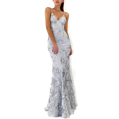 Fashion Sexy Women Bling Sequined Floral Maxi Long Bandage Dress Deep V Neck Backless Spaghetti Strap Party Dresses Robe Femme