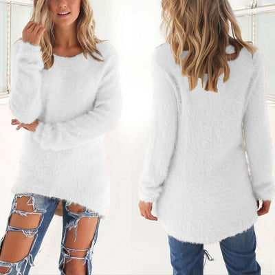 Fashion Spring Autumn Sweater Women Loose Long Sleeve Solid Warm Pullovers Tops H9