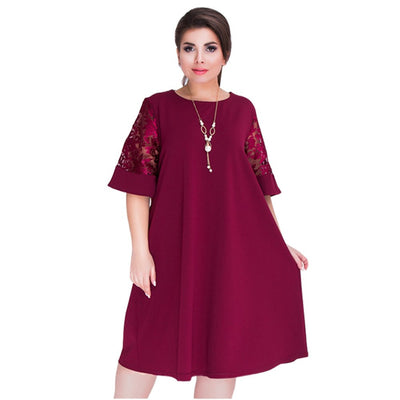 Fashion Summer Plus Size Women Mid Dress 4XL 5XL 6XL Lace Patchwork Casual O-neck Loose Robe Femme Big Size Female Vestidos Blue