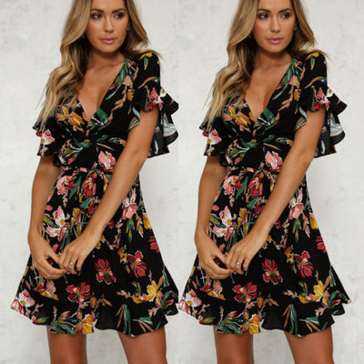 Fashion Women BOHO Floral Print Beach Dress New Summer Lady Evening Party Short Sleeve V neck Mini Dress