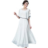 Fashion Women Elegant Vintage Sweet Ruffles White Chiffon Dress Boho Style Maxi Beach Summer Long Hippie Vestidos De Festa XH347