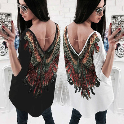 Fashion Women Loose Long Sleeve Cotton Casual T Shirt Tops T-shirt New Back Wing Print Tee Shirt