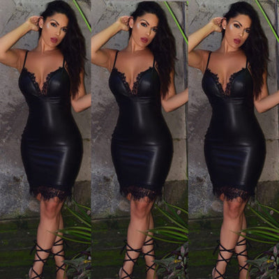 Fashion Women Sexy Slim Bodycon Dress Summer Club Wear Sleeveless Deep V-neck Leather Lace Mini Pencil Dresses