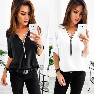Fashion Women Summer Casual zipper Harajuku Blouse Elegant Loose Long Sleeve Shirt brand Top dames vogue kleding Ladies Clothing