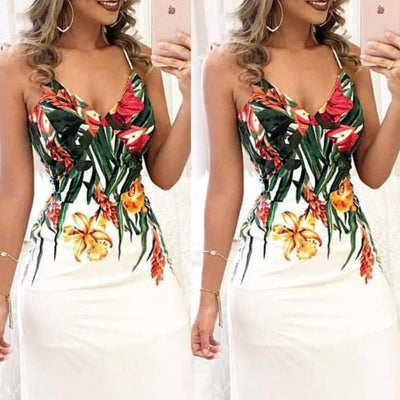 Fashion Women Summer Floral Sleeveless Strap V neck Boho Dress Casual Long Maxi Evening Party Beach Dress Sundress