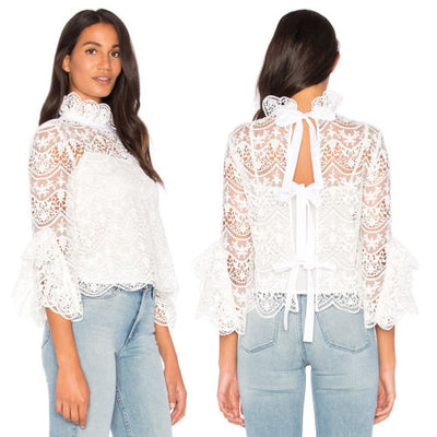 Fashion Women Ladies Shirts Summer Cotton Long Sleeve Hollow Out Shirt Casual Lace Blouse Tops Shirt Party Clothes White
